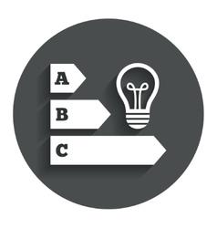 Energy efficiency icon idea lamp bulb symbol vector