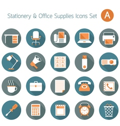 Office supplies and stationery flat icons set vector