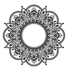 Mehndi lace indian henna tattoo round design vector