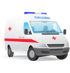 Ambulance van with red cross vector
