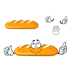 Cartoon dreamy long loaf bread character vector