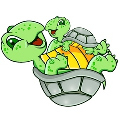 Mother and baby turtle vector