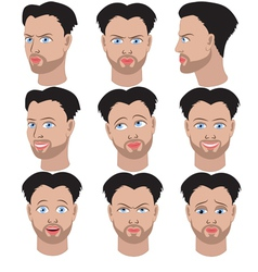 Set of variation of emotions of the same man vector