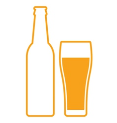 Beer bottle and glass vector