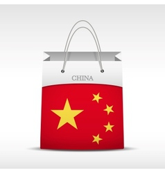 Shopping bag with china flag vector