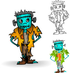 Halloween monsters isolated spooky zombie man set vector