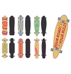Skateboards and longboards vector