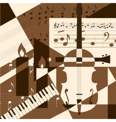 Collage with musical instruments vector