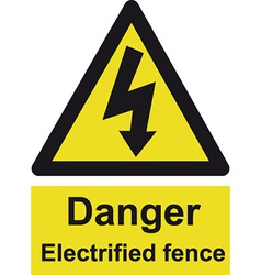 Danger electrified fence safety sign vector
