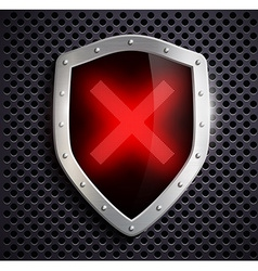 Metal shield with a digital sign ban vector