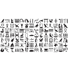 Silhouettes ancient egyptian hieroglyphs set 2 vector
