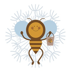 Happy honey bee character vector