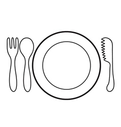 Empty plate with spoon and knife fork vector