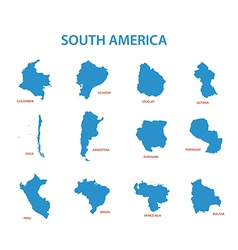 South america - maps of countries vector