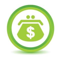 Green dollar purse icon vector