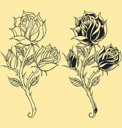 Roses oldskool tattoo style element vector