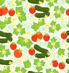 Pattern cucumbers tomatoes leaves and flowers vector