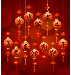 Chinese zodiac symbols on the lantern vector