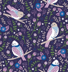 Beautiful birds and flower berries pattern in blue vector