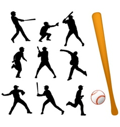 Baseball players silhouettes vector