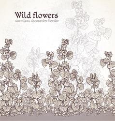 Wild flowers field seamless decorative border vector