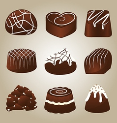 Sweet collection of chocolate truffles vector