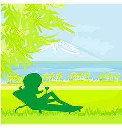 Silhouette of girl sunbathing vector