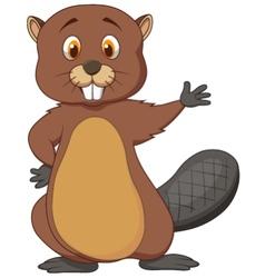 Cute beaver cartoon waving vector