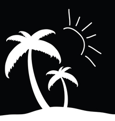 Palm tree in white with sun vector