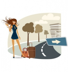 girl on her travel vector
