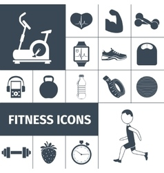 Fitness icons black set vector
