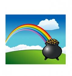 Rainbow pot of gold vector