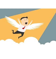 Businessman flying to the peak of career vector