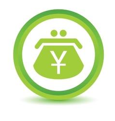 Green yen purse icon vector