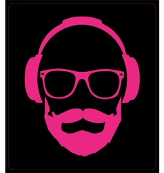 Hipster style set glasses mustaches headphones vector