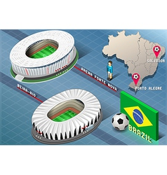 Isometric stadium of salvador and porto alegre vector