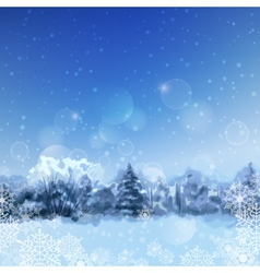 Watercolor snowy forest vector