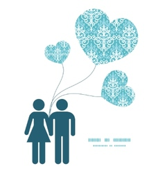 Light blue swirls damask couple in love vector