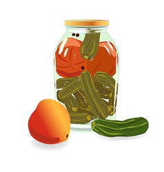 Transparent bank with cucumbers and tomatoes vector
