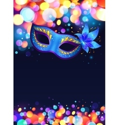 Blue carnival mask poster background vector