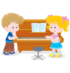 Children play a piano vector