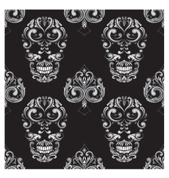 Skull and spades ornamental pattern vector
