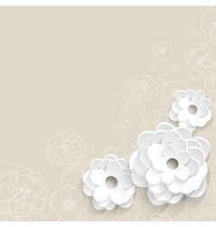 Background with paper flowers vector