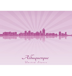 Albuquerque skyline in radiant orchid vector