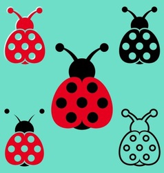 Seven spot ladybird icons vector