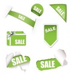 Shop sale elements green vector