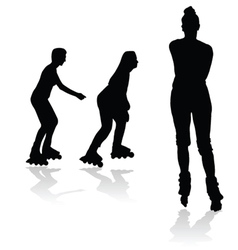 Recreation on rollerblades silhouette vector