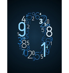 Number 0 font from numbers vector