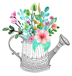 Watercolor flowers and doodle watering can vector