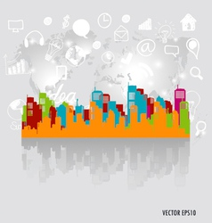 City with application icon modern template design vector